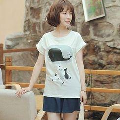 白金天使 - 動物印花短袖T恤