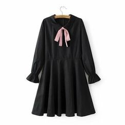Angel Love - Bow Accent Collared Long Sleeve Dress