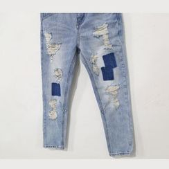Mr. Cai - Patchwork Distressed Cropped Jeans