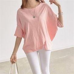 PEPER - Dolman-Sleeve Slit-Front T-Shirt