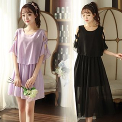 EFO - Strappy-Shoulder Ruffle Chiffon Dress