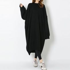 FASHION DIVA - Drop-Shoulder Oversized Long Knit Dress