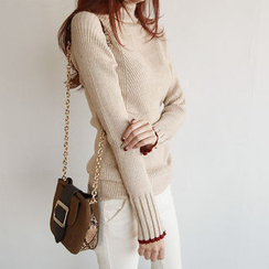 NIPONJJUYA - Turtle-Neck Rib-Knit Top