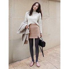 maybe-baby - Slit-Side Wool Blend Skirt