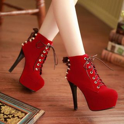 Pangmama - Lace Up Platform High-heel Ankle Boots