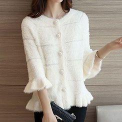 Ageha - Furry 3/4 Sleeve Knit Coat