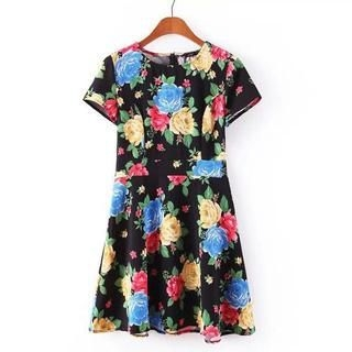 JVL - Short-Sleeve Floral Dress