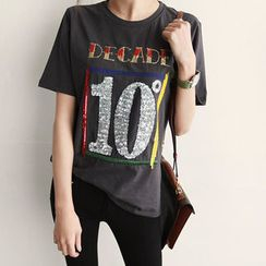 NIPONJJUYA - Sequined Lettering Cotton T-Shirt