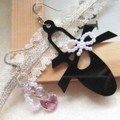Fit-to-Kill - Ribbon and Ballet Slipper Earrings with Swarovski Crystal