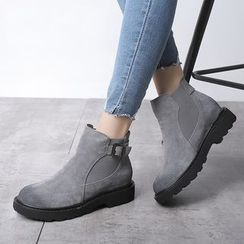 Ammie - Buckled Leather Short Boots