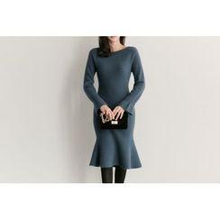 UPTOWNHOLIC - Bell-Sleeve Wool Blend Dress