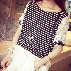 Oaksa - Lace-Sleeve Striped T-Shirt