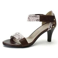 MODELSIS - Genuine Sheepskin Snake-Skin Print Sandals