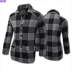WIZIKOREA - Single-Breasted Check Coat