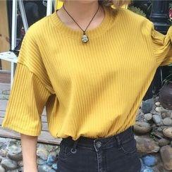 Dasim - Ribbed Elbow-Sleeve T-Shirt