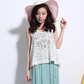 Lucky Leaf - Embroidered Lace Tank Top