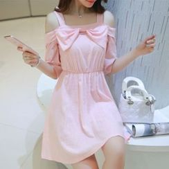 MayFair - Bow Cutout Shoulder A-Line Dress