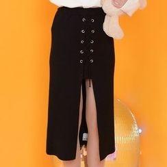 Moriville - Lace Detail Slit-Front Midi Skirt