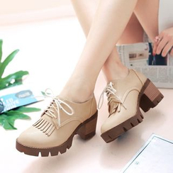 CITTA - Fringed Block Heel Oxfords