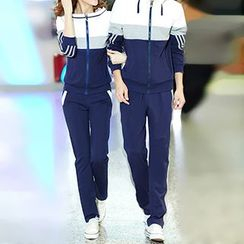 Azure - Couple Matching Colour Block Hoodie Jacket