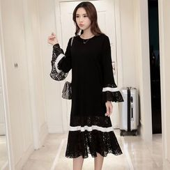 Sienne - Contrast Trim Long Sleeve Lace Panel Midi Dress