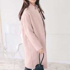 PPGIRL - Hidden-Button Wool Blend Coat