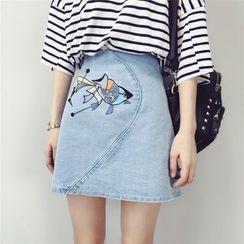 Kojasmine - Embroidered Denim A-Line Skirt