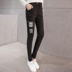 Cottony - Print Drawstring Waist Slim Fit Pants
