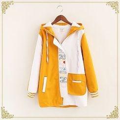 Fairyland - Lettering Embroidered Color Block Fleece Lined Hooded Jacket