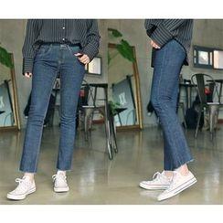 HOTPING - Frey-Hem Straight-Cut Jeans