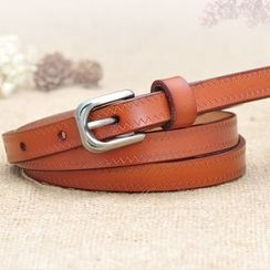 HANYI - Genuine-Leather Embossed Wave Belt
