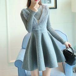 Yohana - Long-Sleeve Knit Panel Woolen A-Line Dress