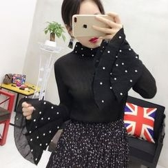 small dots - Embellished Bell-Sleeve Blouse