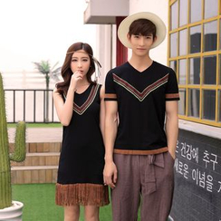 Aikoo - Printed Couple T-Shirt / Sleeveless Dress