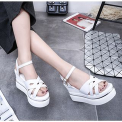 BAYO - Platform Wedge Ankle Strap Sandals