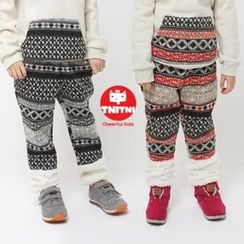 URAVI Fleeced-Line Mixed Print Pants
