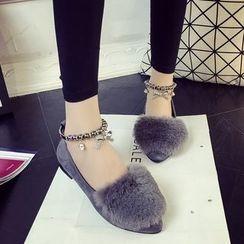 MANMANNI - 毛絨平跟鞋
