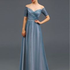LYRA - Short-Sleeve Off Shoulder Evening Gown