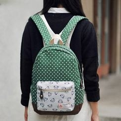 SUPER LOVER - Panda Print Polke Dot Lightweight Backpack