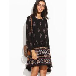 Hotprint - Patterned Long-Sleeve Dress