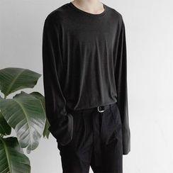 Seoul Homme - Round-Neck Slit-Cuffs T-Shirt