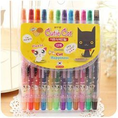 Momoi - Cat Print Twist-Up Crayon Set