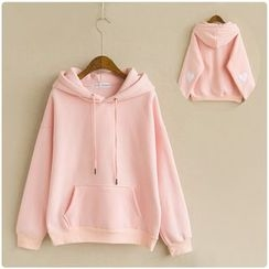 Fireflies - Heart Applique Fleece-lined Hoodie
