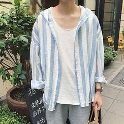JUN.LEE - Striped Hooded Light Jacket