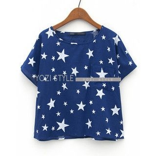 YOZI - Short-Sleeve Star Print Top