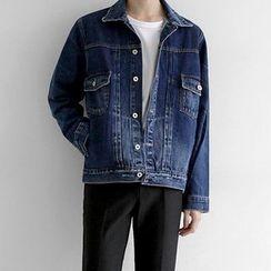 Seoul Homme - Drop-Pocket Washed Denim Jacket