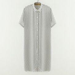 Meimei - 短袖圆点衬衫裙