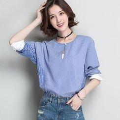 Romika - 细直条纹拼接雪纺衬衫