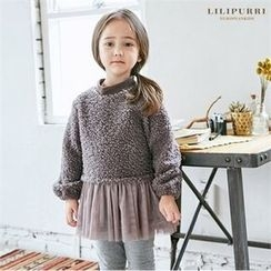 LILIPURRI - Girls Tulle-Hem Fleece Top