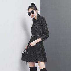 Sonne - 金丝混纺修身七分袖针织连衣裙